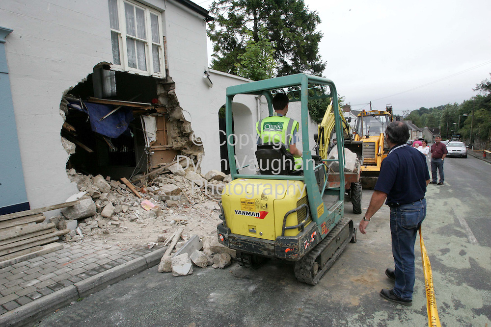 4/8/2004.The scene in Borris County Carlow where the Bank of Ireland Atm was removed from the wall over night..Picture Dylan Vaughan