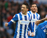 Brighton striker Anthony Knockaert celebrates Bobby Zamora's goal during the Sky Bet Championship match between Brighton and Hove Albion and Huddersfield Town at the American Express Community Stadium, Brighton and Hove, England on 23 January 2016. Photo by Bennett Dean.