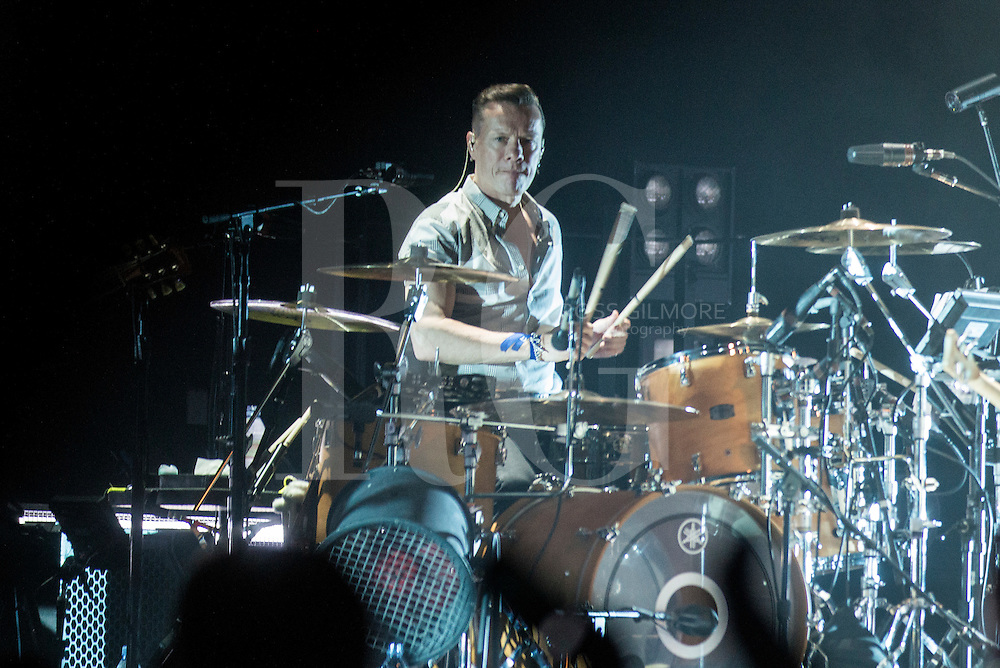 Larry Mullen Jr of U2 performs at the SSE Hydro as part of their iNNOCENCE + eXPERIENCE tour on November 6, 2015 in Glasgow, Scotland.