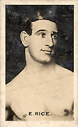 Amazing images of Britain's best boxers from the 1920's<br /> <br /> From the 1920s up until World War 2 cigarette companies, sporting magazines and boys' weeklies included real photo cards of sports stars to collect and swap. These photos of British boxers come from magazines like The Champion, The Magnet and Boy's Friend and cigarette companies such as Senior Service and Ogdens.<br /> <br /> Photo shows: Ernie Rice: Almost completely forgotten today, during the 1920s Ernie Rice was one of the most exciting lightweights in Britain. Born John Tommasso in Hull in 1896, he won the European lightweight title off Georges Papin in1921. After retiring from boxing he kept in the public eye, having small roles in films such as The Lavender Hill Mob, Lawrence of Arabia and From Russia with Love.<br /> ©One mans treasure/Exclusivepix Media