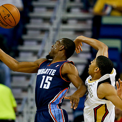 Nov 2, 2013; New Orleans, LA, USA; New Orleans Pelicans power forward Anthony Davis (23) blocks a shot by Charlotte Bobcats point guard Kemba Walker (15) during the first quarter of a game at New Orleans Arena. Mandatory Credit: Derick E. Hingle-USA TODAY Sports