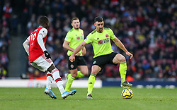 Enda Stevens of Sheffield United under pressure from Nicolas Pepe of Arsenal - Mandatory by-line: Arron Gent/JMP - 18/01/2020 - FOOTBALL - Emirates Stadium - London, England - Arsenal v Sheffield United - Premier League