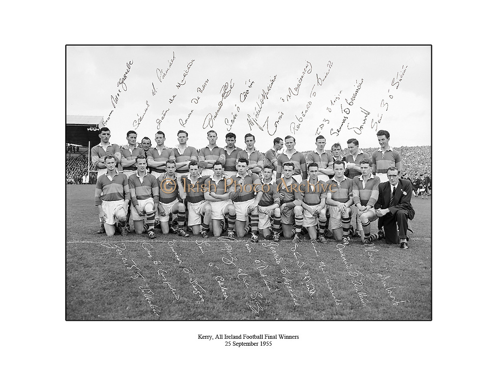 All Ireland Senior Football Championship Final, 25.09.1955, 09.25.1955, 25th September 1955, Kerry 00-12 Dublin 01-06, 25091955AISFCF,<br />