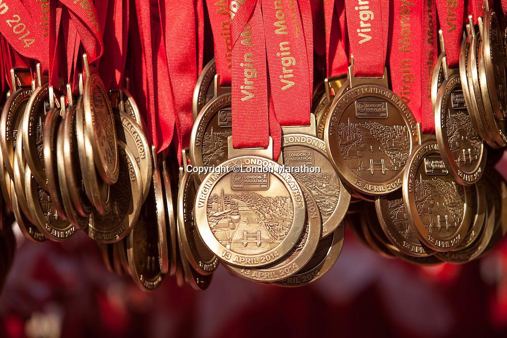Preparation for the Virgin Money London Marathon 2014 at the finish line on Sunday 13 April 2014<br /> Photo: Dillon Bryden/Virgin Money London Marathon<br /> media@london-marathon.co.ukMedals ready for runners to collect for the Virgin Money London Marathon 2014 at the finish line on Sunday 13 April 2014<br /> Photo: Dillon Bryden/Virgin Money London Marathon<br /> media@london-marathon.co.uk