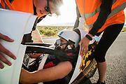 Aniek Rooderkerken in de VeloX 7 tijdens de vierde racedag. Het Human Power Team Delft en Amsterdam, dat bestaat uit studenten van de TU Delft en de VU Amsterdam, is in Amerika om tijdens de World Human Powered Speed Challenge in Nevada een poging te doen het wereldrecord snelfietsen voor vrouwen te verbreken met de VeloX 7, een gestroomlijnde ligfiets. Het record is met 121,44 km/h sinds 2009 in handen van de Francaise Barbara Buatois. De Canadees Todd Reichert is de snelste man met 144,17 km/h sinds 2016.<br /> <br /> With the VeloX 7, a special recumbent bike, the Human Power Team Delft and Amsterdam, consisting of students of the TU Delft and the VU Amsterdam, wants to set a new woman's world record cycling in September at the World Human Powered Speed Challenge in Nevada. The current speed record is 121,44 km/h, set in 2009 by Barbara Buatois. The fastest man is Todd Reichert with 144,17 km/h.