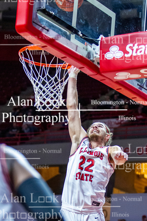 NORMAL, IL - December 07: Matt Chastain chases a high shot near the glass during a college basketball game between the ISU Redbirds and the Morehead State Eagles on December 07 2019 at Redbird Arena in Normal, IL. (Photo by Alan Look)