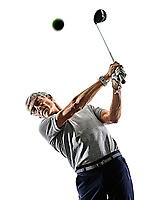 one caucasian senior man golfer golfing  in studio shadow silhouette isolated on white background