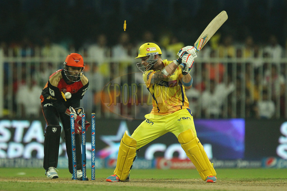 Brendon McCullum of The Chennai Superkings is clean bowled by Karn Sharma of the Sunrisers Hyderabad  during match 17 of the Pepsi Indian Premier League 2014 between the Sunrisers Hyderabad and the Chennai Superkings held at the Sharjah Cricket Stadium, Sharjah, United Arab Emirates on the 27th April 2014<br /> <br /> Photo by Ron Gaunt / IPL / SPORTZPICS