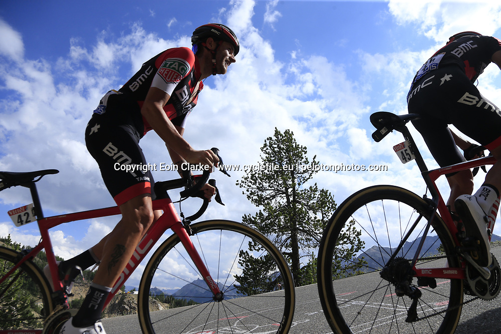 Damiano Caruso (ITA) BMC Racing Team climbs through the Caisse Deserte on Col d'Izoard during Stage 18 of the 104th edition of the Tour de France 2017, running 179.5km from Briancon to the summit of Col d'Izoard, France. 20th July 2017.<br /> Picture: Eoin Clarke | Cyclefile<br /> <br /> All photos usage must carry mandatory copyright credit (&copy; Cyclefile | Eoin Clarke)