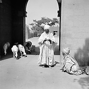 Dignitary Reading Letter at City Gates, Kano, Nigeria, Africa, 1937