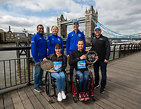 Manuela Schar SUI and Marcel Hug SUI winners of the Abbott World Marathon Majors Series XI with representatives of Abbott at a photocall and press conference at the Guoman Tower Hotel for the winners of the Virgin Money London Marathon, 23 April 2018.<br /> <br /> Photo: Thomas Lovelock for Virgin Money London Marathon<br /> <br /> For further information: media@londonmarathonevents.co.uk