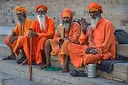 Sadhus, or hindu holy men, Varanasi.