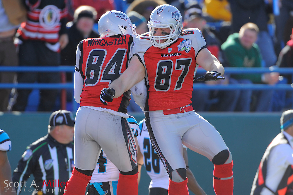 Las Vegas Locomotives tight end George Wrighster (84) celebrates a touchdown with tight end Adam Bergen (87) during the United Football League championship game against the Florida Tuskers at Rosenblatt Stadium on Nov. 27, 2010 in Omaha, Nebraska. The Locos won the game 23-20..©2010 Scott A. Miller