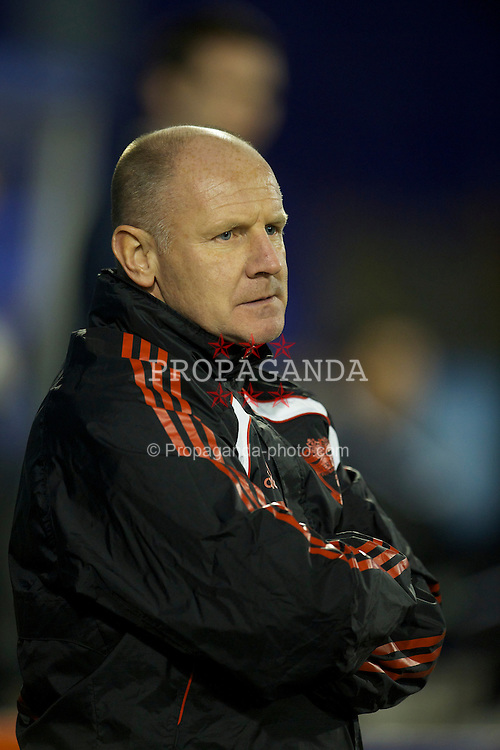 BIRKHENHEAD, ENGLAND - Monday, February 28, 2011: Liverpool's reserve team manager John McMahon during the FA Premiership Reserves League (Northern Division) match against Blackburn Rovers at Prenton Park. (Photo by David Rawcliffe/Propaganda)