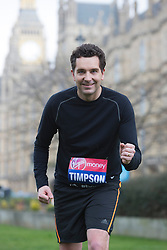 © Licensed to London News Pictures. 25/03/2015. London, England. Pictured: Edward Timpson MP. Five Members of Parliament: Richard Drax, Conservative MP for South Dorset, Alun Cairns, Conservative MP for Vale of Glamorgan, Dan Jarvis, Labour's Shadow Justice Minister, Graham Evans, Conservative MP for Weaver Vale and Edward Timpson, Conservative Party's Minister for Children and Families will take time off from the General Election race to run the 2015 Virgin Money London Marathon on Sunday 26 April. Parliament dissolves on 30 March 2015, meaning all five will officially run as members of the public rather than MPs, before returning to the campaign trail to try to win back their seats in the General Election on 7 May.  Photo credit: Bettina Strenske/LNP