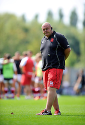 London Welsh Head Coach Justin Burnell looks on during the pre-match warm-up - Photo mandatory by-line: Patrick Khachfe/JMP - Mobile: 07966 386802 06/09/2014 - SPORT - RUGBY UNION - Oxford - Kassam Stadium - London Welsh v Exeter Chiefs - Aviva Premiership