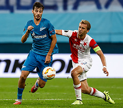 October 4, 2018 - Saint Petersburg, Russia - Aleksandr Erokhin (L) of FC Zenit Saint Petersburg and Tomas Soucek of SK Slavia Prague vie for the ball during the Group C match of the UEFA Europa League between FC Zenit Saint Petersburg and SK Sparta Prague at Saint Petersburg Stadium on October 4, 2018 in Saint Petersburg, Russia. (Credit Image: © Mike Kireev/NurPhoto/ZUMA Press)