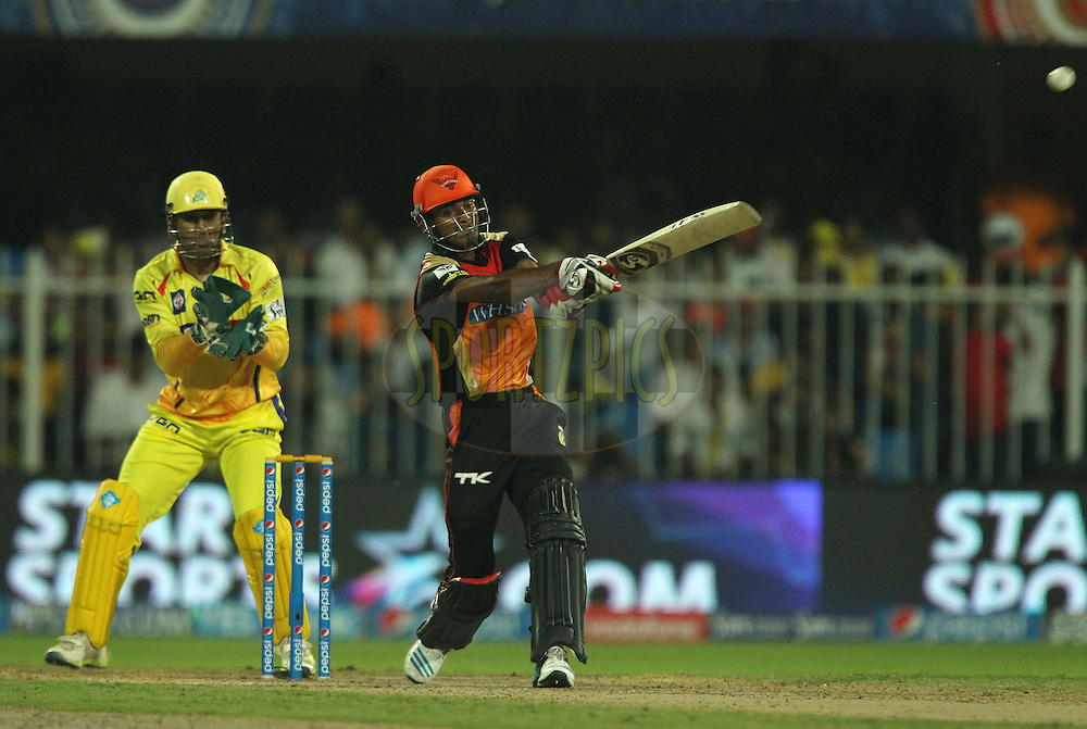 K.L Rahul of the Sunrisers Hyderabad hits out and is caught on the boundary during match 17 of the Pepsi Indian Premier League 2014 between the Sunrisers Hyderabad and the Chennai Superkings held at the Sharjah Cricket Stadium, Sharjah, United Arab Emirates on the 27th April 2014<br /> <br /> Photo by Ron Gaunt / IPL / SPORTZPICS