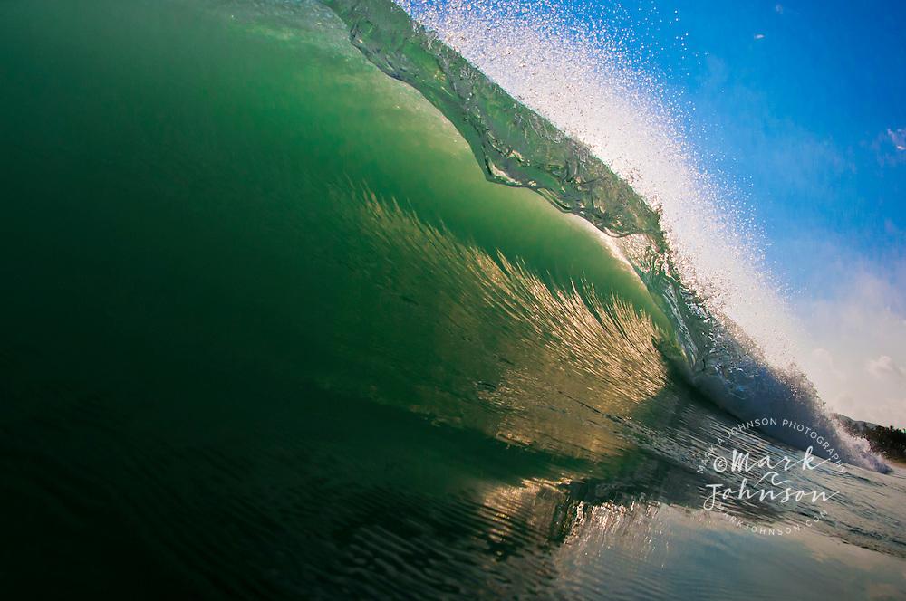 Backlit wave, Kailua Shorebreak, Oahu, Hawaii, USA