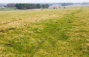Field view of faint embankment lines 5,500 years old Stonehenge Cursus, Wiltshire, England, UK