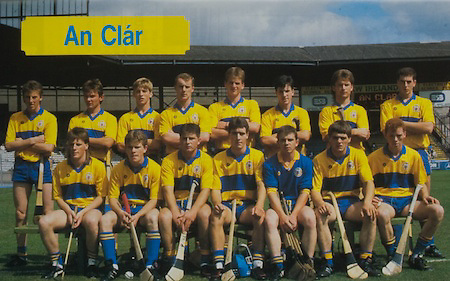 All Ireland Senior Hurling Championship Final,.03.09.1989, 09.03.1989, 3rd September 1989, .Antrim v Tipperary, .03091989AISHCF,.Tipperary 4-24, Antrim 3-9,..PMPA Insurance, ..Clare, back row, Conor Clancy, Ger Moroney, Pat Markham, Ger Cahill, Pat Minouge, Diarmuid McInerney, Paul O'Rourke, Francis Corey,.Front row, Sean Power, Padraig McNamara, Paul Lee, David Fitzgerald, Joe O'Gorman, Christy Chaplin,