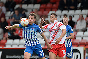 Hartlepool United defender Carl Magnay (2) heads the ball during the EFL Sky Bet League 2 match between Stevenage and Hartlepool United at the Lamex Stadium, Stevenage, England on 3 September 2016. Photo by Dennis Goodwin.