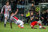 ROTTERDAM - Excelsior - Willem II , Voetbal , Eredivisie , Seizoen 2016/2017 , Stadion Woudestein , 25-02-2017 , Willem II speler Guus Joppen (l) in duel met Excelsior speler Bas Kuipers (r)