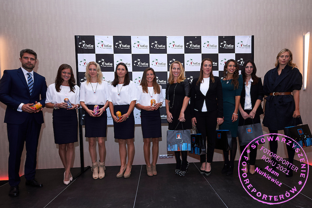 (L-R) trainer coach Tomasz Wiktorowski and Agnieszka Radwanska and Urszula Radwanska and Klaudia Jans Ignacik and Alicja Rosolska and Svetlana Kuznetsova and Anastasia Pavyuchenkova and Vitalia Diatchenko and trainer coach Anastasia Myskina and Maria Sharapova all from Russia during official dinner two days before the Fed Cup / World Group 1st round tennis match between Poland and Russia at Holiday Inn on February 5, 2015 in Cracow, Poland.<br /> <br /> Poland, Cracow, February 5, 2015<br /> <br /> Picture also available in RAW (NEF) or TIFF format on special request.<br /> <br /> For editorial use only. Any commercial or promotional use requires permission.<br /> <br /> Adam Nurkiewicz declares that he has no rights to the image of people at the photographs of his authorship.<br /> <br /> Mandatory credit:<br /> Photo by &copy; Adam Nurkiewicz / Mediasport