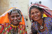 Rajasthani women in traditional sari dress and jewelry Jodhpur, Rajasthan, India