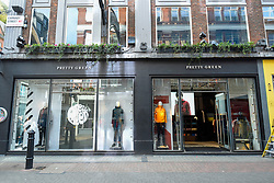 © Licensed to London News Pictures. 09/03/2019. LONDON, UK.  The exterior of the Pretty Green menswear store on Carnaby Street. Pretty Green, founded by Oasis singer Liam Gallagher, has called in advisers to review options for the future of the business.  The loss making company has suffered further, with both the Chairman and finance director leaving recently.  The company's problems coincide with women's fashion brand LK Bennett entering administration in the last few days.  Photo credit: Stephen Chung/LNP