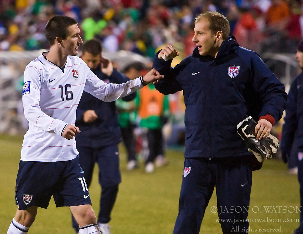 United States midfielder Sacha Kljestan (16) and United States goalkeeper Brad Guzan (18).  The United States men's soccer team defeated the Mexican national team 2-0 in CONCACAF final group qualifying for the 2010 World Cup at Columbus Crew Stadium in Columbus, Ohio on February 11, 2009.