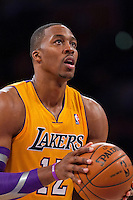 30 October 2012: Center (12) Dwight Howard of the Los Angeles Lakers shoots a free-throw against the Dallas Mavericks during the second half of the Mavericks 99-91 victory over the Lakers at the STAPLES Center in Los Angeles, CA.