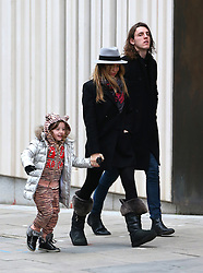 First pictures of Abbey Clancy after the anoucement that she is pregnant her second child with husband Peter Crouch. The stunning model wearing a grey trilby hat, black coat, leggings and a pair if Ugg boots, spotted out with her daughter Sophia and brother John Clancy on a Sunday afternoon... London, UK. 21/12/2014<br />BYLINE MUST READ : JAMESY/GOTCHA IMAGES<br /><br />Copyright by © Gotcha Images Ltd. All rights reserved.<br />Usage of this image is conditional upon the acceptance <br />of Gotcha Images Ltd, terms and conditions available at<br />www.gotchaimages.com