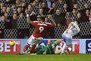 Nottingham Forest forward Britt Assombalonga (9) scores a goal to make it 1-1 during the EFL Sky Bet Championship match between Nottingham Forest and Aston Villa at the City Ground, Nottingham, England on 4 February 2017. Photo by Jon Hobley.
