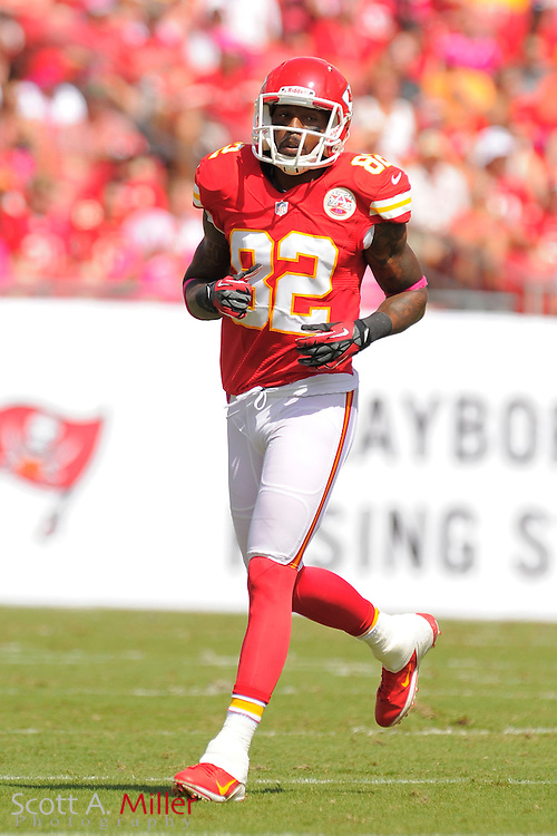 Kansas City Chiefs wide receiver Dwayne Bowe (82) during the Tampa Bay Buccaneers 38-10 win over the Chiefs at Raymond James Stadium  on Oct. 14, 2012 in Tampa, Florida. ..©2012 Scott A. Miller...