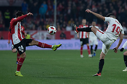 January 16, 2019 - Sevilla, Andalucia, Spain - Munir of Sevilla FC and Balenciaga of Athletic Club competes for the ball during the Copa del Rey match between Sevilla FC v Athletic Club at the Ramon Sanchez Pizjuan Stadium on January 16, 2019 in Sevilla, Spain (Photo by Javier Montaño/Pacific Press) (Credit Image: © Javier MontañO/Pacific Press via ZUMA Wire)