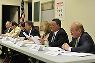 After Nassau County Coalition of Civic Associations installs Board Directors, on Tuesday, April 17, 2012, at Lido Beach, New York, USA, the County's proposal to lease sewage treatment plants, and legislature redistricting, are among concerns discussed. Executive Directors to the Board present were these civic leaders (left to right): George Pombar of Glen Head, Phil Healey; Patrice Benneward of Glenwood Landing, Raymond Pagano of Oceanside, Claudia Borecky of North Merrick, Phil Franco of Seaford, and Greg Naham of Lido Beach. The non-partisan group believes transparency and public oversight are necessary to protect residents.