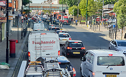 © Licensed to London News Pictures. 05/06/2020. London, UK. Traffic builds up on the A105 in Haringey, north London as lockdown restrictions are eased in England after eleven weeks of the coronavirus lockdown. Photo credit: Dinendra Haria/LNP