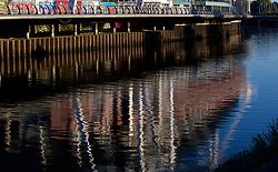 CARDIFF, WALES - Wednesday, October 10, 2018: A reflection of the Principality (Millennium Stadium) in the River Taff ahead of the International Friendly match between Wales and Spain. (Pic by David Rawcliffe/Propaganda)