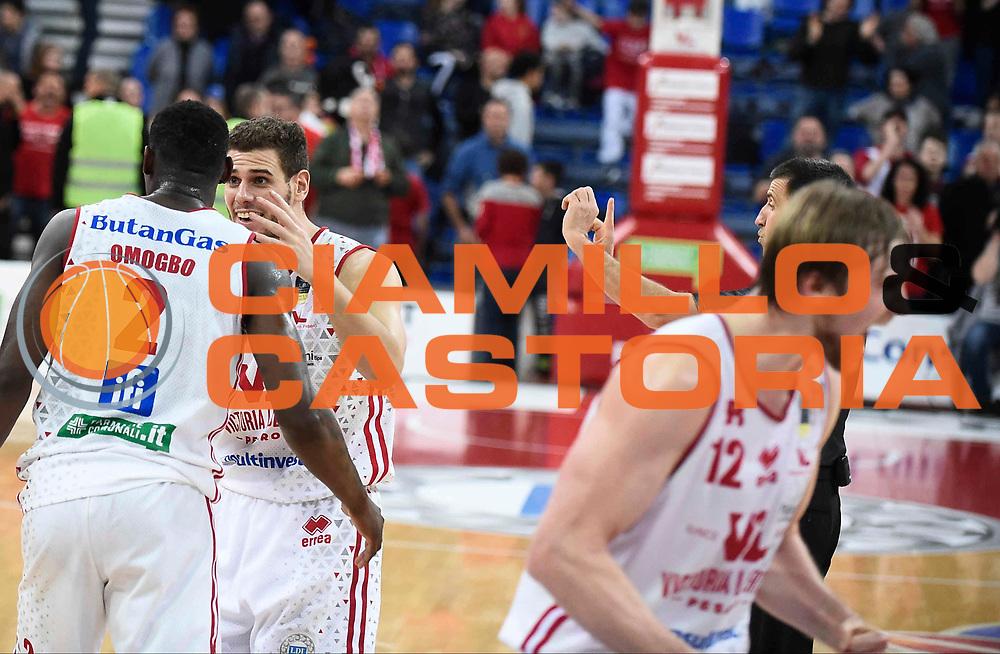 Esultanza Pesaro<br /> Victoria Libertas Pesaro - Betaland Capo d'Orlando<br /> Lega Basket Serie A 2017/2018<br /> Reggio Emilia, 11/03/2018<br /> Foto A.Giberti / Ciamillo - Castoria