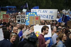 © Licensed to London News Pictures. 02/07/2016. London, UK. Pro-EU campaigners protest against Britain leaving the European Union in central London during a march from Park Lane to Parliament Square on Saturday, 2 July 2016. Photo credit: Tolga Akmen/LNP
