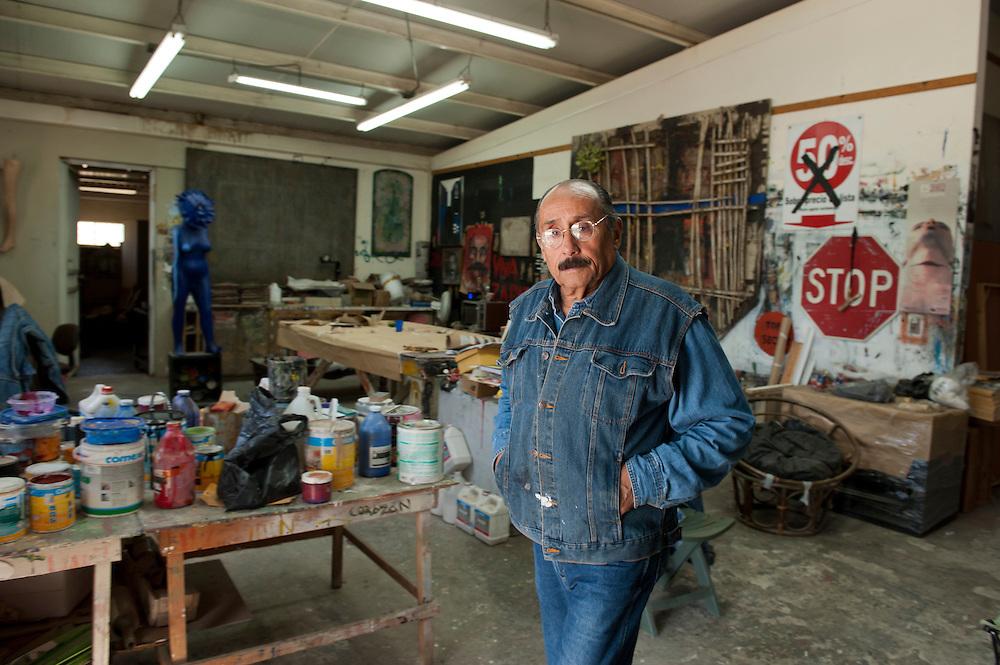 Alvaro Blancarte, artist, at his studio in Tecate, Mexico...© Stefan Falke.http://www.stefanfalke.com/..