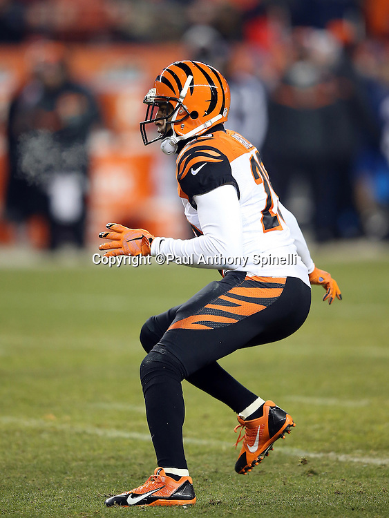 Cincinnati Bengals strong safety Leon Hall (29) makes a move in pass coverage during the 2015 NFL week 16 regular season football game against the Denver Broncos on Monday, Dec. 28, 2015 in Denver. The Broncos won the game in overtime 20-17. (©Paul Anthony Spinelli)
