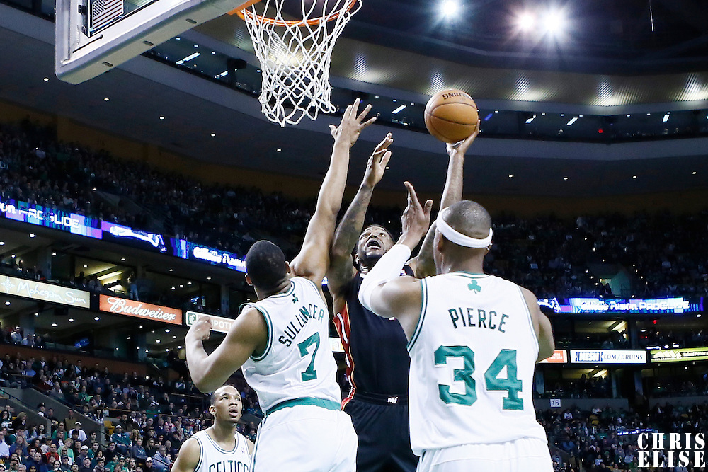 27 January 2013: Miami Heat power forward Udonis Haslem (40) goes for the skyhook over Boston Celtics power forward Jared Sullinger (7) during the Boston Celtics 100-98  2OT victory over the Miami Heat at the TD Garden, Boston, Massachusetts, USA.