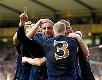 Photo: Jed Wee/Sportsbeat Images.<br /> Scotland v Lithuania. UEFA European Championships Qualifying. 08/09/2007.<br /> <br /> Scotland celebrate with goalscorer Kris Boyd (C).