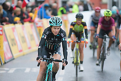 Laura Massey of Drops Cycling Team finishes the 76,1 km first stage of the 2016 Ladies' Tour of Norway women's road cycling race on August 12, 2016 between Halden and Fredrikstad, Norway. (Photo by Balint Hamvas/Velofocus)