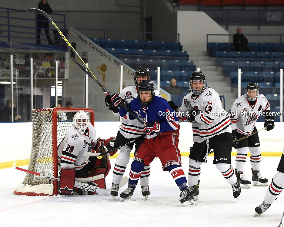 NORTH YORK, ON  - NOV 26,  2017: Ontario Junior Hockey League game between the North York Rangers and the Mississauga Chargers, William Hunter #44 of the North York Rangers battles for position during the second period.<br /> (Photo by Andy Corneau / OJHL Images)