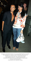 Designer JULIEN MACDONALD and actress MARTINE MCCUTCHEON, at a reception in London on 25th September 2003.PND 185