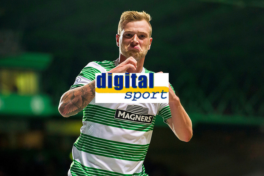 24/09/14 SCOTTISH LEAGUE CUP 3RD RND<br /> CELTIC v HEARTS<br /> CELTIC PARK - GLASGOW<br /> Delight for Celtic star John guidetti after opening the scoring