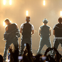 MINNEAPOLIS, MN - JULY 15:  (L-R) Nick Carter, Brian Littrell, A.J. McLean, and Howie Dorough of Backstreet Boys perform with NKOTBSB at Target Center in Minneapolis, Minnesota on July 15, 2011. (Photo by Adam Bettcher/Getty Images) *** Local Caption *** Nick Carter, Brian Littrell, A.J. McLean, and Howie Dorough